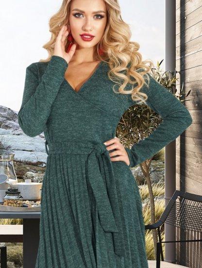 Изумрудное теплое короткое платье из ангоры на запах с юбкой плиссе, фото 1