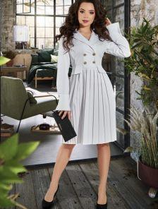 Белое платье -пиджак на длинный рукав