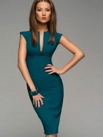 Зеленое вечернее миди платье, фото 1