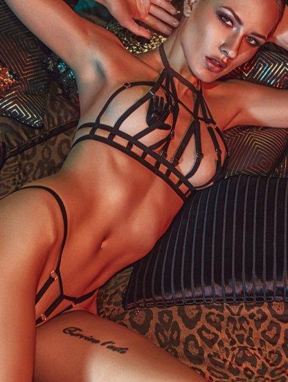 Черный эротический комплект портупея с ремешков, фото 1