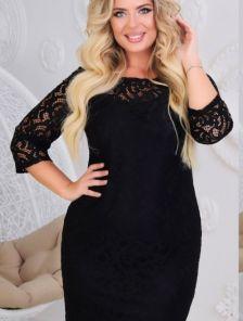 Черное короткое гипюровое платье на длинный рукав