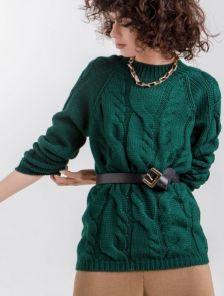 Женский теплый зеленый джемпер с круглой горловиной