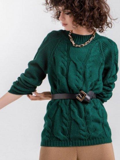 Женский теплый зеленый джемпер с круглой горловиной, фото 1