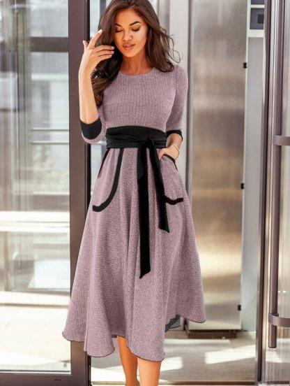 Пудровое теплое платье с карманами под пояс, фото 1