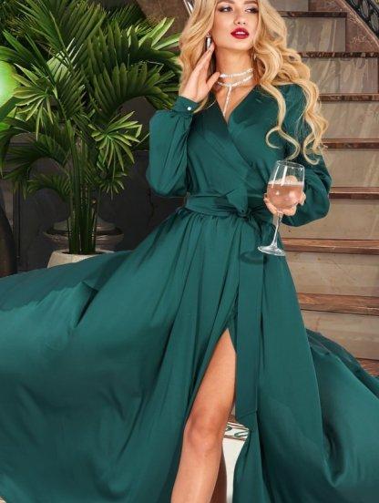 Зеленое вечернее длинное палатье на запах с длинным рукавом, фото 1