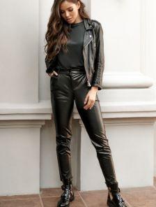 Черные облегающие кожаные брюки