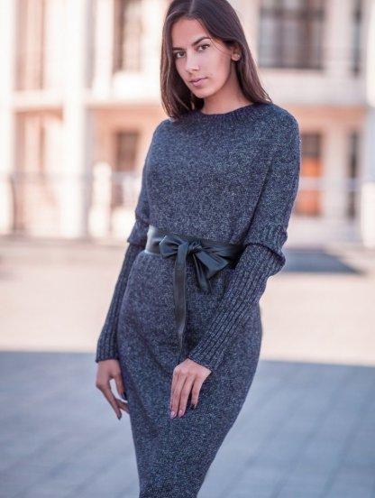 Вязаное длинное черное платье свободного кроя, фото 1