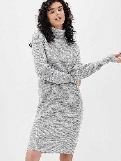 Вязаное серое теплое платье на длинный рукав с горловиной, фото 1