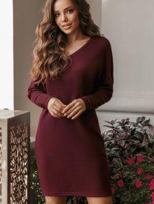 Бордовое теплое ангоровое короткое платье
