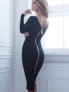 Черное платье футляр с молнией и длинным рукавом