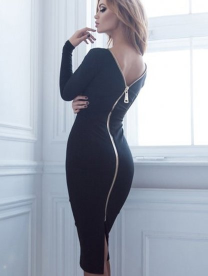 Черное классическое платье футляр с молнией