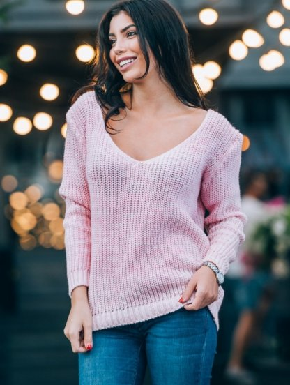 Розовый теплый вязаный зимний свитер со спущенным верхом, фото 1
