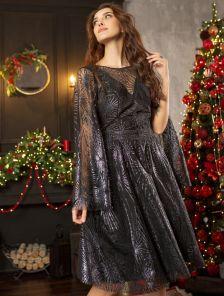 Черное вечернее полупрозрачное платье до колена