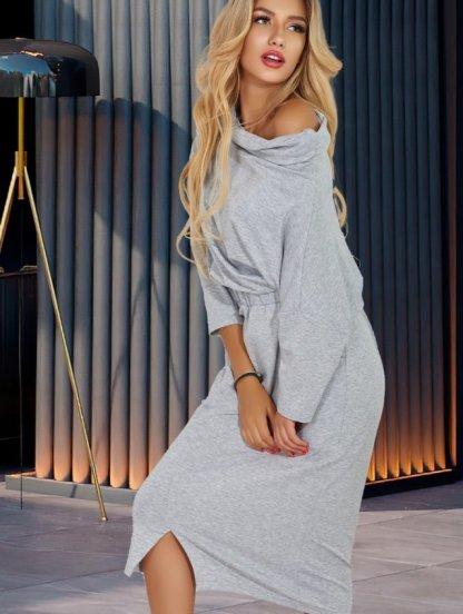 Серое трикотажное платье на широкой резинке с горловиной, фото 1