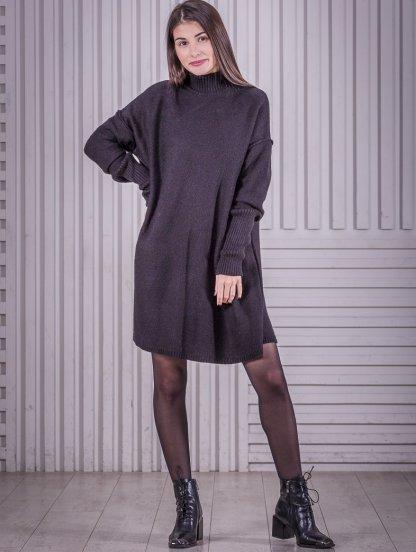 Черное вязаное платье трапеция с горловной на длинный рукав, фото 1