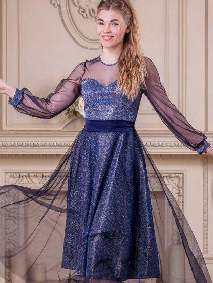 Нарядное длинное блестящее платье с сеткой, фото 1