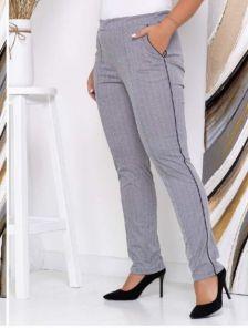 Серые женские брюки на высокой посадке с поясом