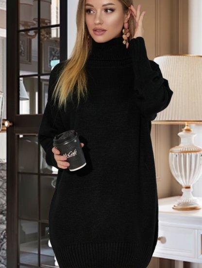 Черный теплый удлиненный свитер оверсайз с широкой горловиной, фото 1