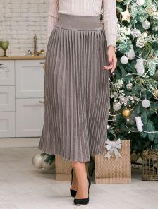 Вязанная юбка плиссе с широким поясом цвета капучино