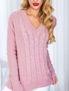 Вязанный пудровый пуловер с V-образным вырезом