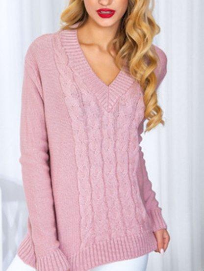 Вязанный пудровый пуловер с V-образным вырезом, фото 1