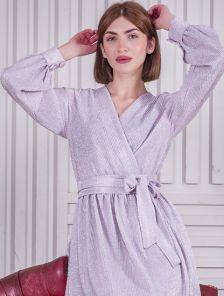 Нарядное расклешенное розовое блестящее платье