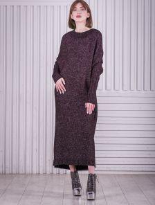 Вязаное бордовое длинное платье свободного кроя