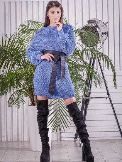 Вязаная теплая голубая туника-платье, фото 1