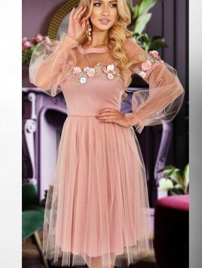Пудровое кружевное платье на длинный рукав, фото 1