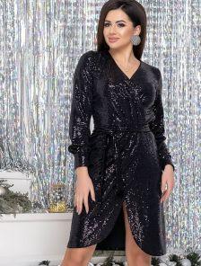 Вечернее черное платье с имитацией запаха в пайетку длины миди