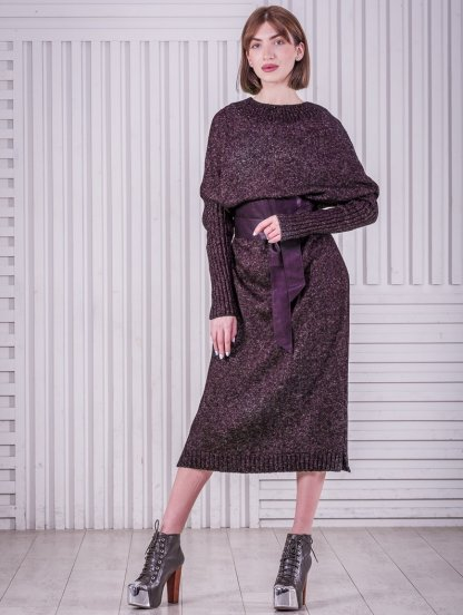 Вязаное бордовое длинное платье свободного кроя, фото 1