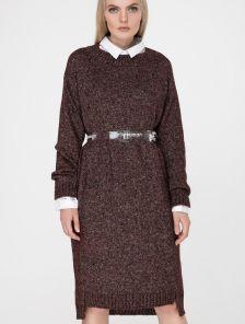 Вязаное бордовое платье свободного кроя