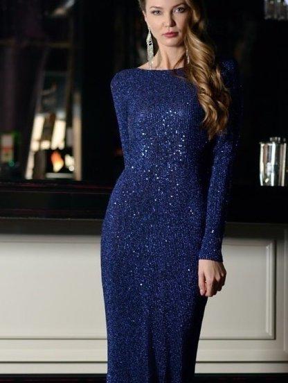 Вечернее синее платье в пайетки с открытой спиной на длинный рукав, фото 1