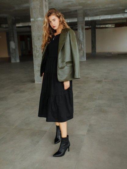 Стильный женский пиджак цвета хаки из экокожи, фото 1