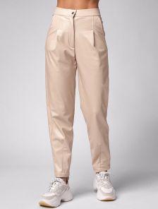 Бежевые женские брюки из экокожи с высокой талией