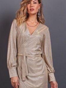 Нарядное короткое золотое блестящее платье на запах