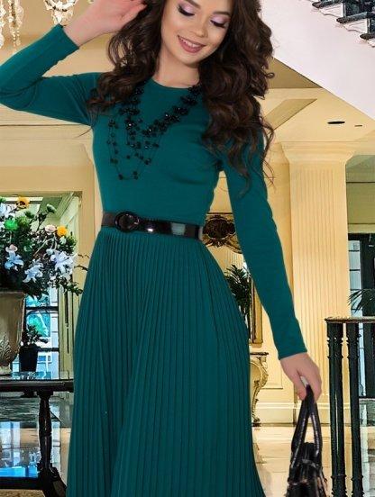Зеленое теплое платье плиссе на длинный рукав, фото 1