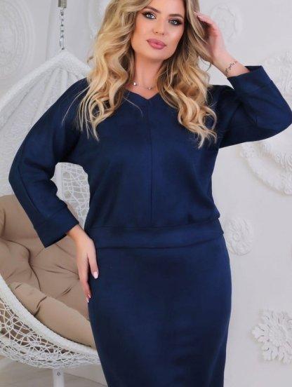 Стильный замшевый темно-синий женский костюм с рукавом 3/4, фото 1