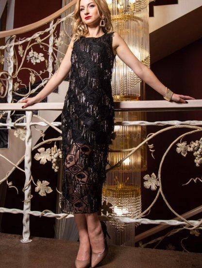 Вечернее черное нарядное платье с вышивкой и с пайетками, фото 1