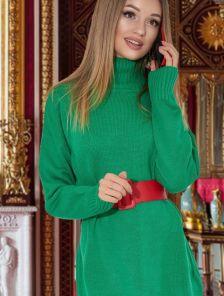 Зеленый теплый удлиненный свитер оверсайз с широкой горловиной