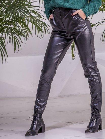 Черные облегающие кожаные женские брюки, фото 1