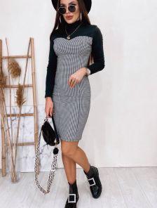 Облегающее платье футлярна длинный рукав со вставкой из джинса в клеточку