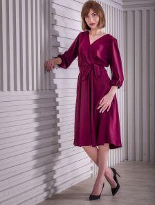 Нарядное платье миди на запах с длинным рукавом в цвете марсала