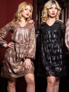 Золотое эффектное вечернее платье с паетками на длинный рукав
