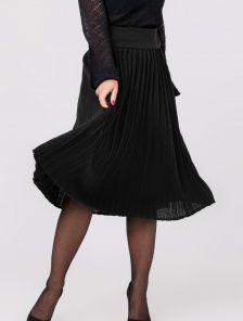 Вязанная юбка плиссе черного цвета