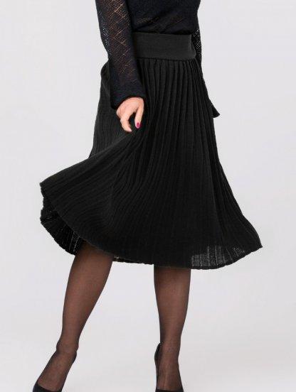 Вязанная юбка плиссе черного цвета, фото 1