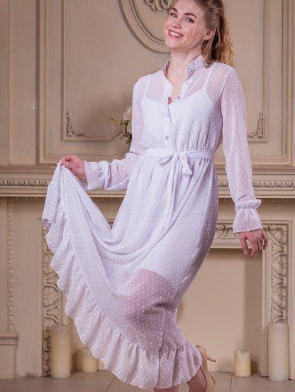 Белое нарядное платье двойка в горошек на длинный рукав, фото 1