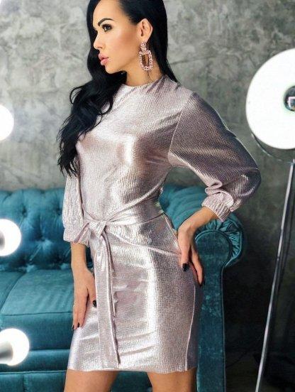 Короткое блестящее нарядное платье футляр с поясом, фото 1