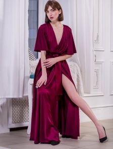 Длинное вечернее шелковое платье макси с коротким рукавом