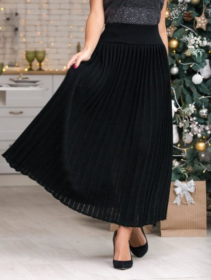 Вязанная юбка плиссе с широким поясом черного цвета, фото 1